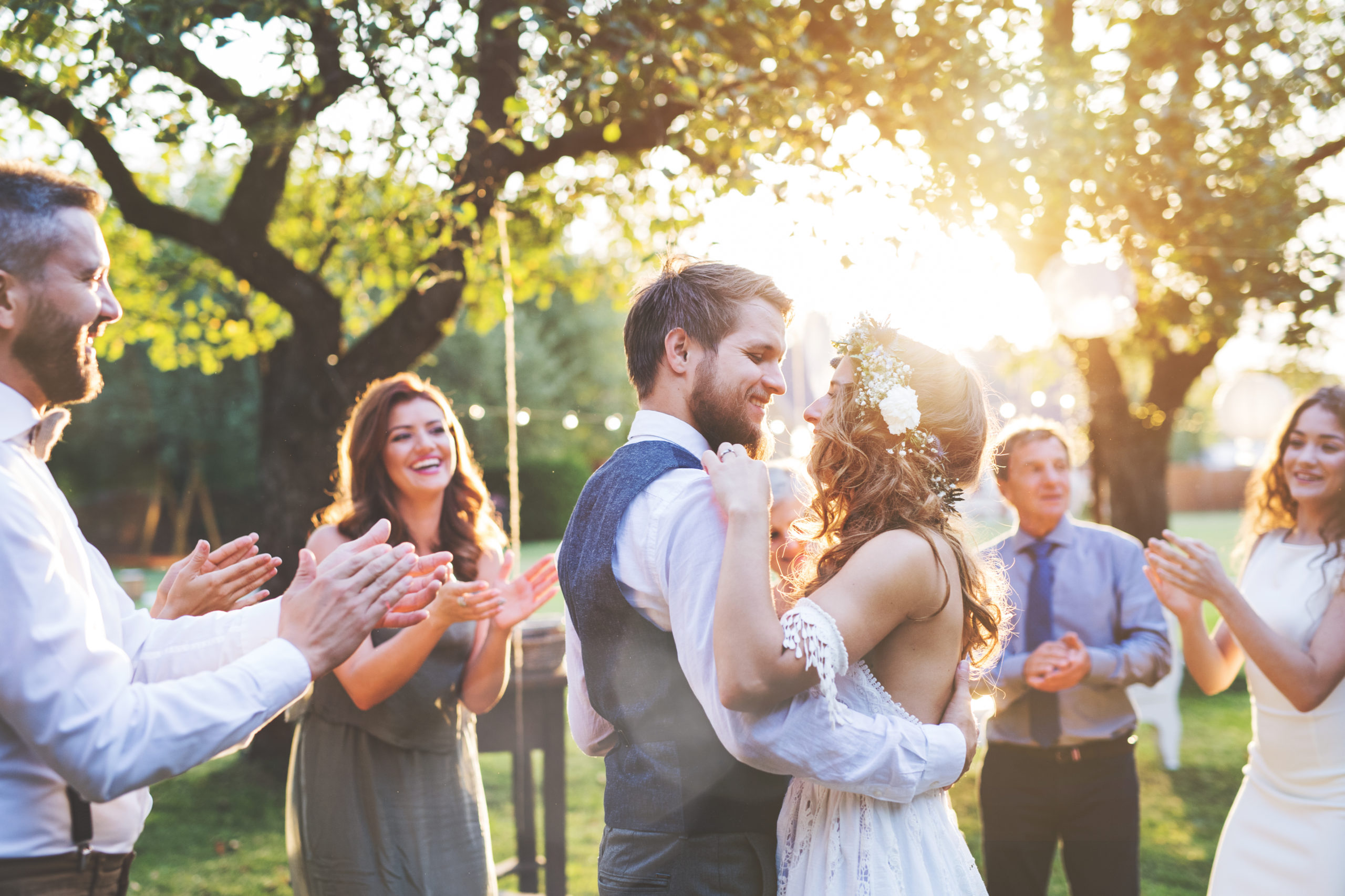 Bride,And,Groom,Dancing,At,Wedding,Reception,Outside,In,The