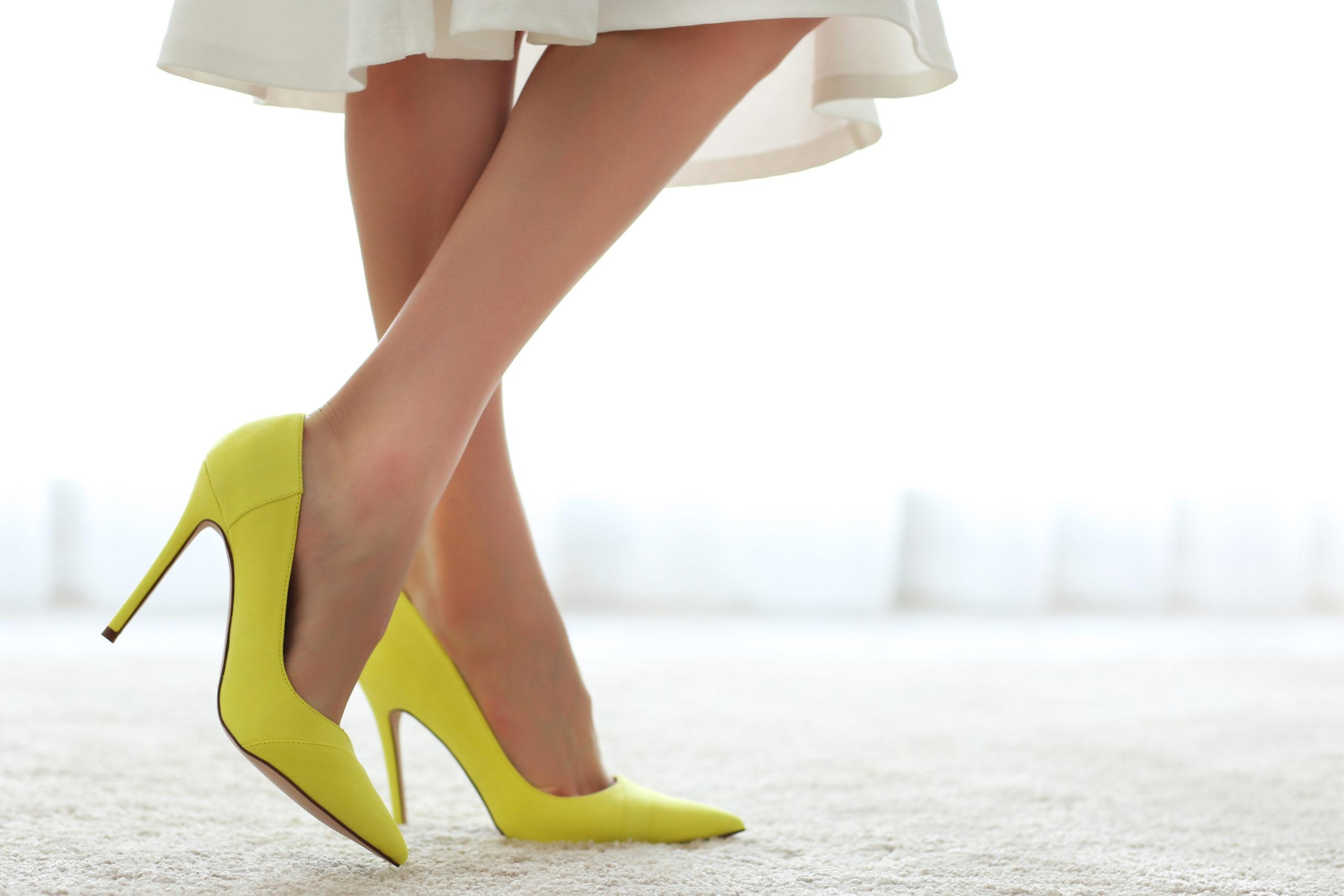 Woman,Wearing,Yellow,High,Heels.